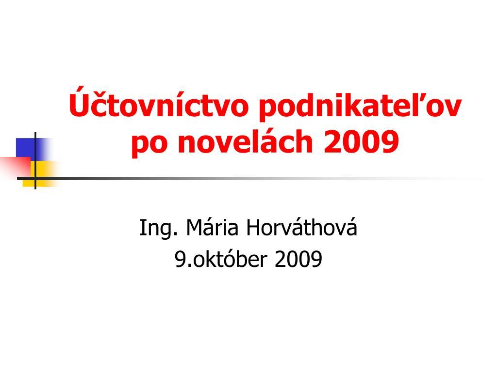 tovn ctvo podnikate ov po novel ch 2009