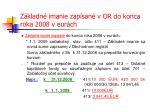 z kladn imanie zap san v or do konca roka 2008 v eur ch