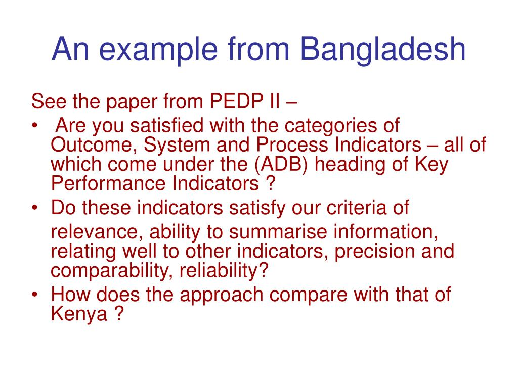 An example from Bangladesh