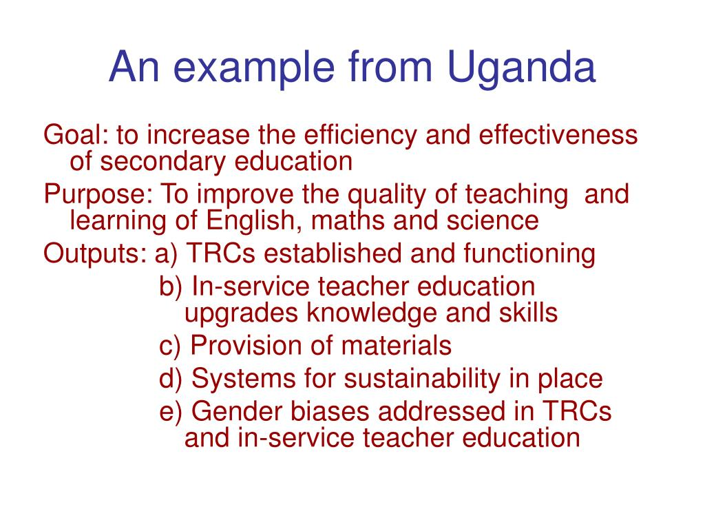 An example from Uganda