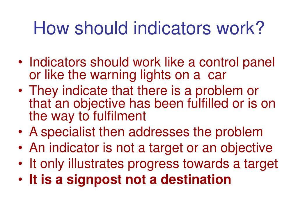 How should indicators work?