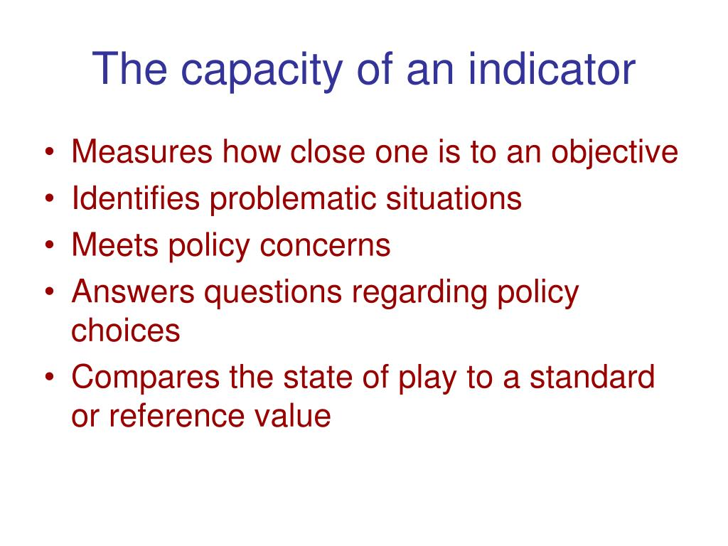 The capacity of an indicator