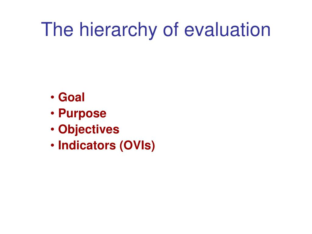 The hierarchy of evaluation