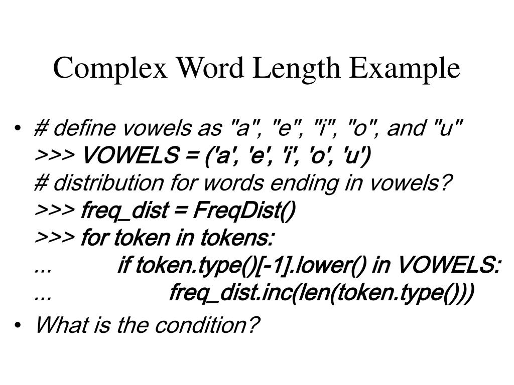 Complex Word Length Example