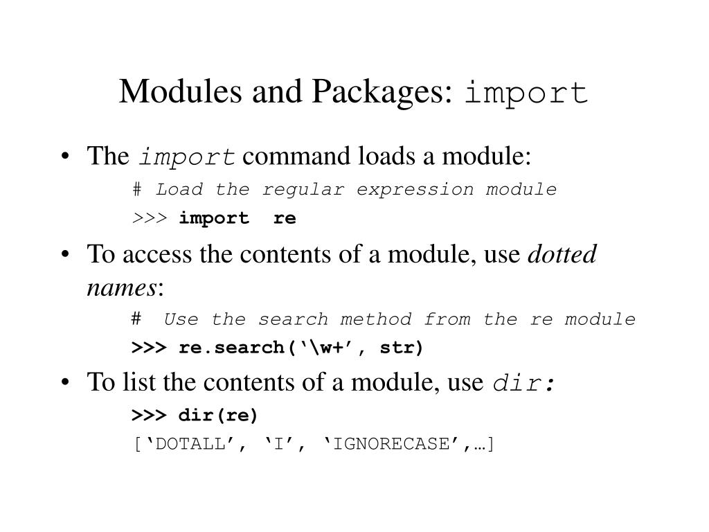 Modules and Packages: