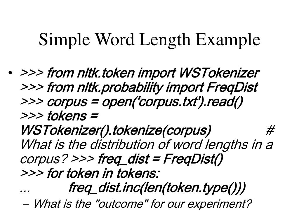 Simple Word Length Example