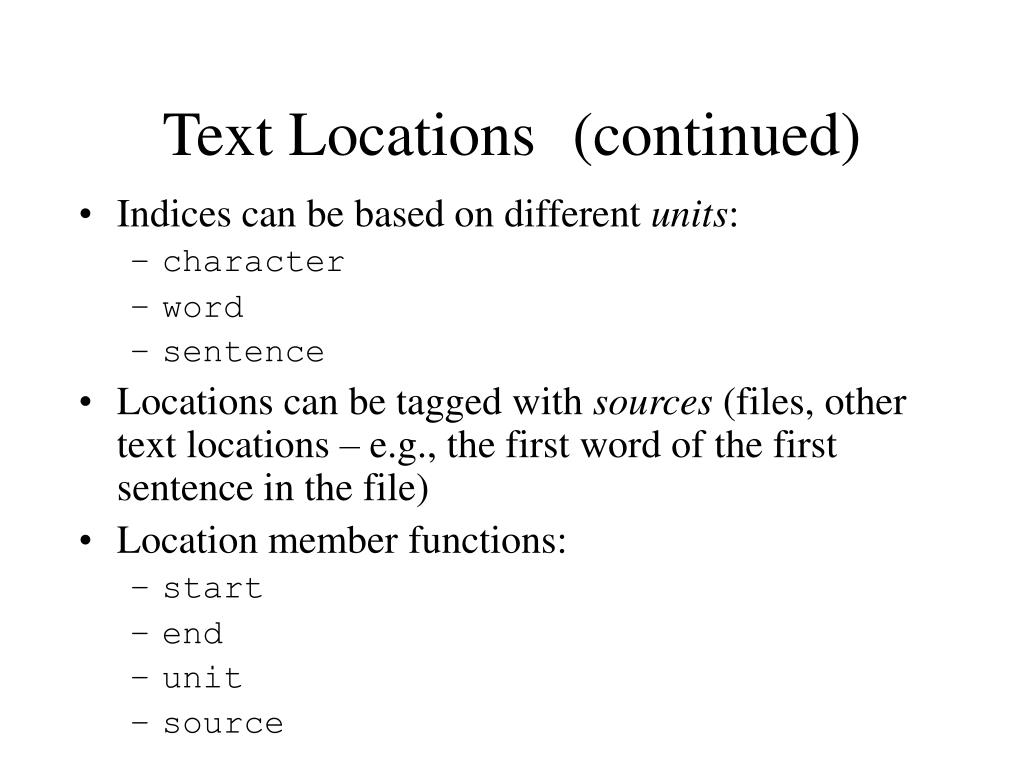 Text Locations	(continued)