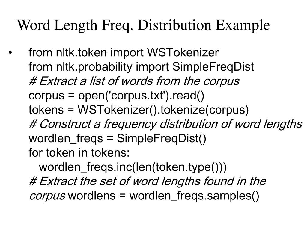 Word Length Freq. Distribution Example