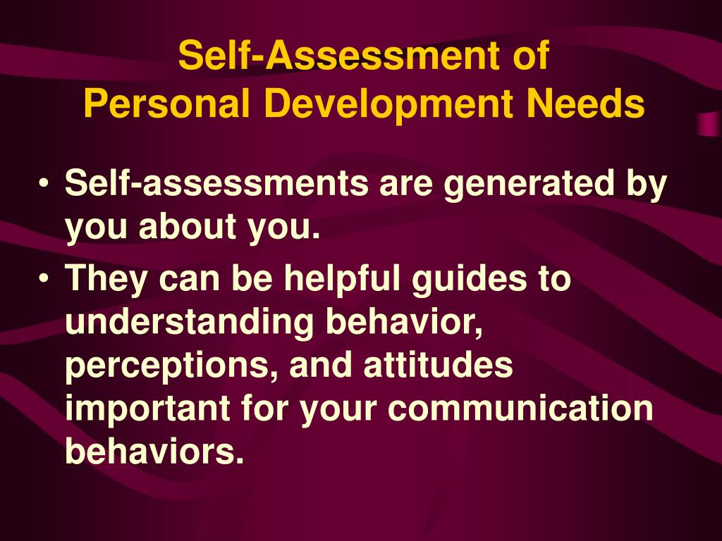 Self-Assessment of