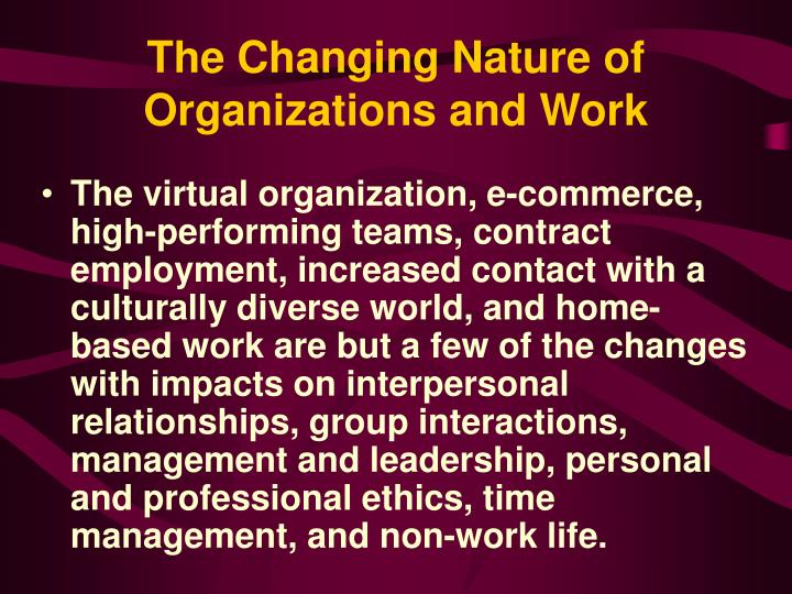 The changing nature of organizations and work3