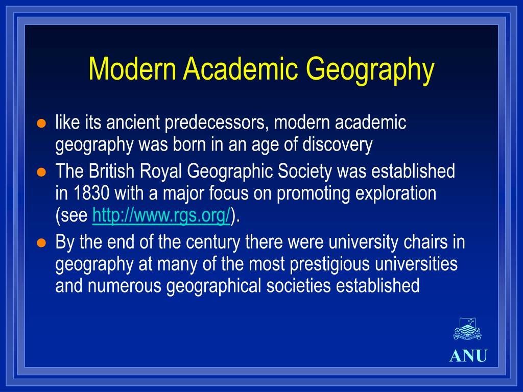 Modern Academic Geography