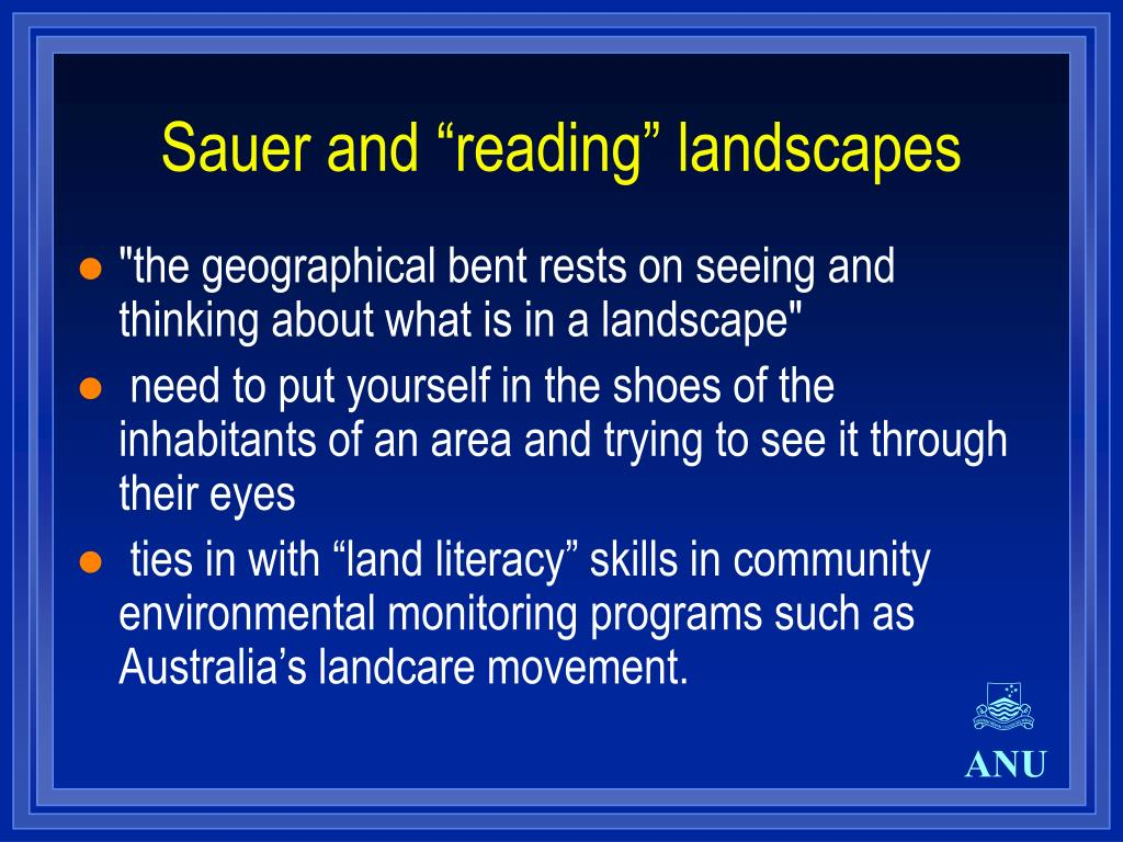"Sauer and ""reading"" landscapes"