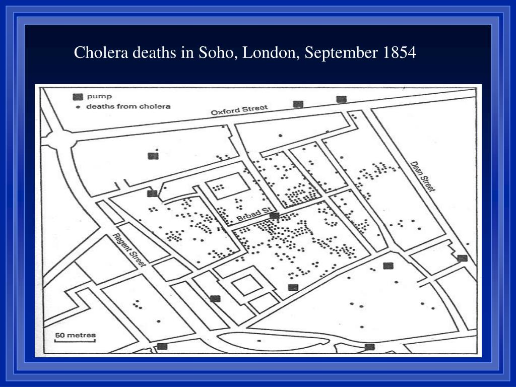 Cholera deaths in Soho, London, September 1854
