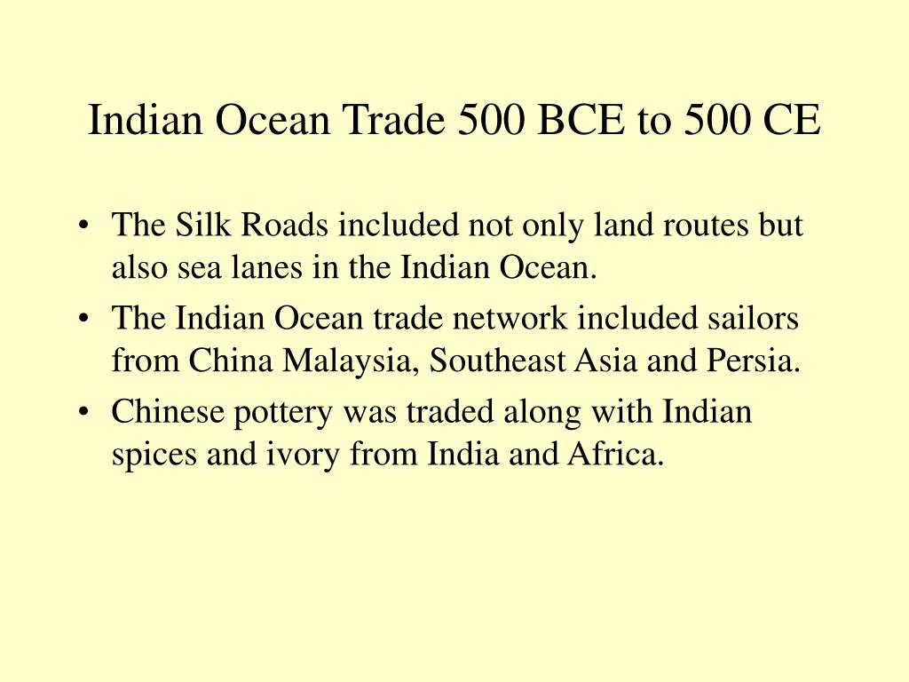Indian Ocean Trade 500 BCE to 500 CE