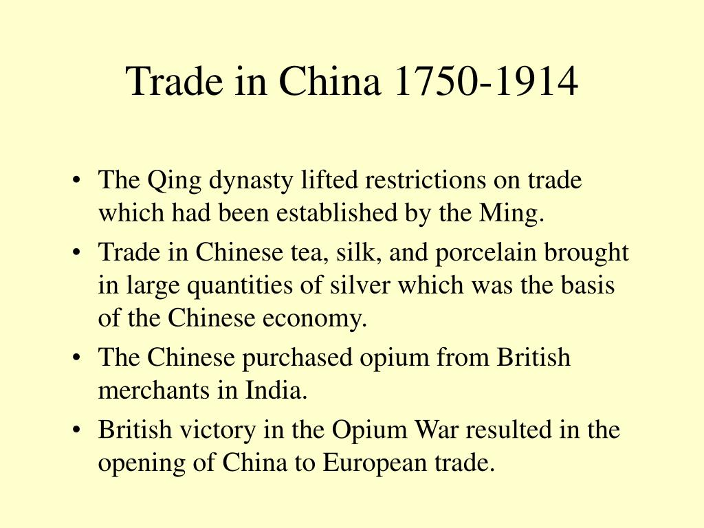 Trade in China 1750-1914