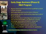 early stage business phase 0 r d program