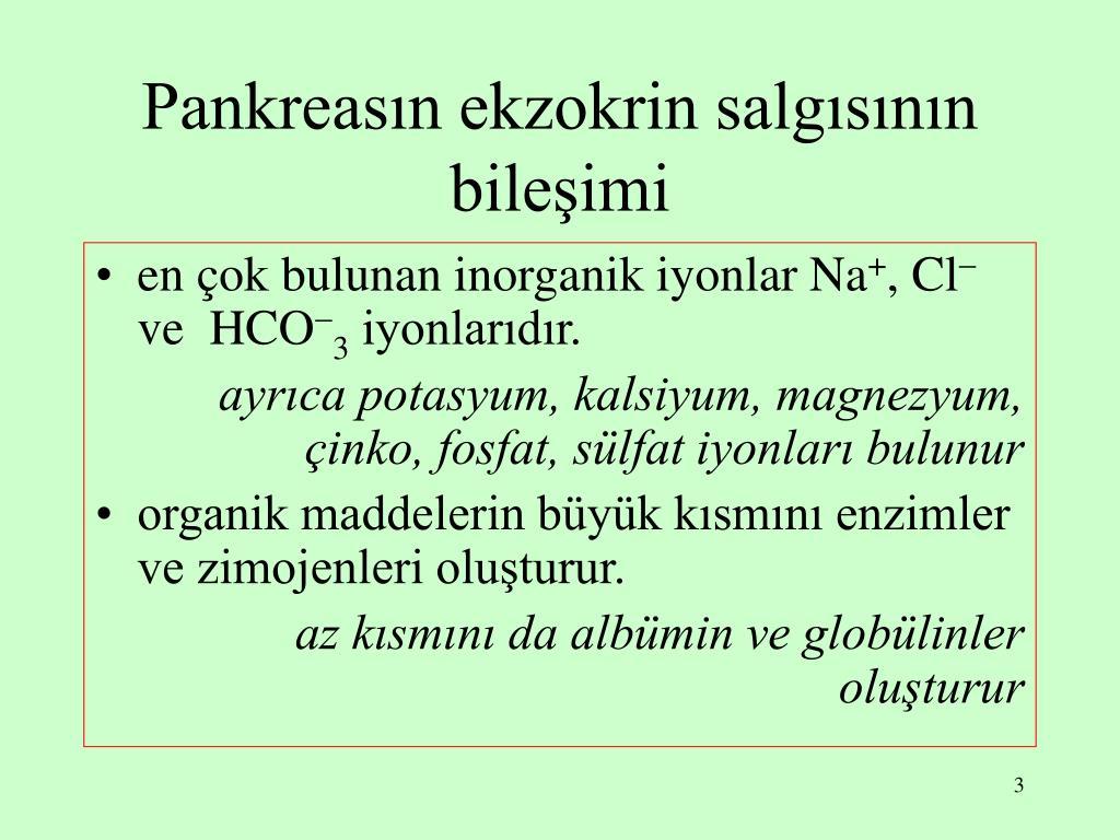 Pankreasın ekzokrin salgısının bileşimi