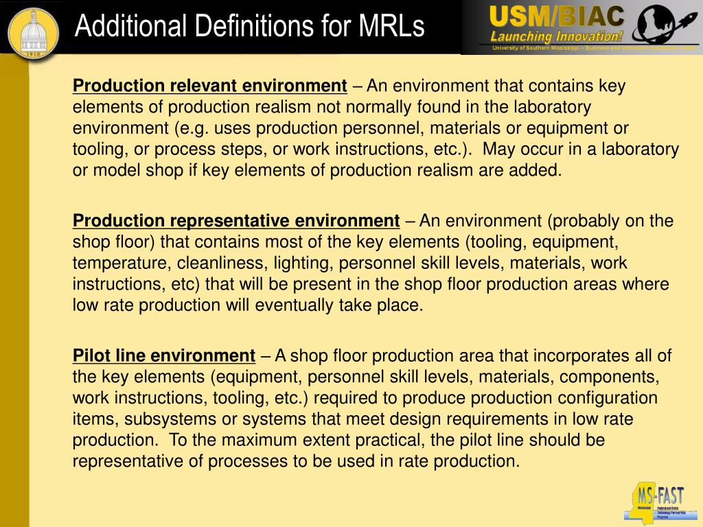 Additional Definitions for MRLs