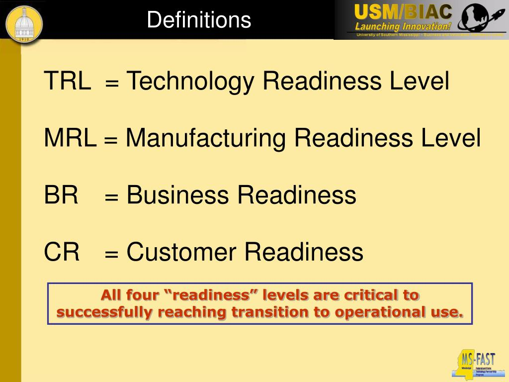 TRL  = Technology Readiness Level