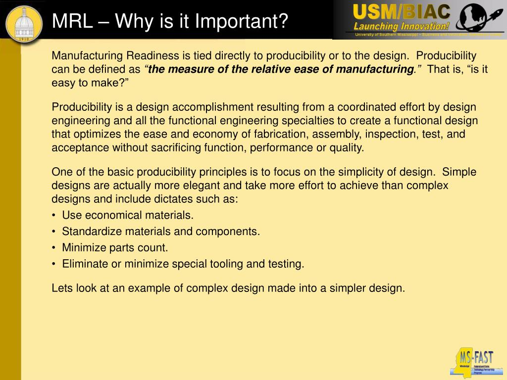 Manufacturing Readiness is tied directly to producibility or to the design.  Producibility can be defined as