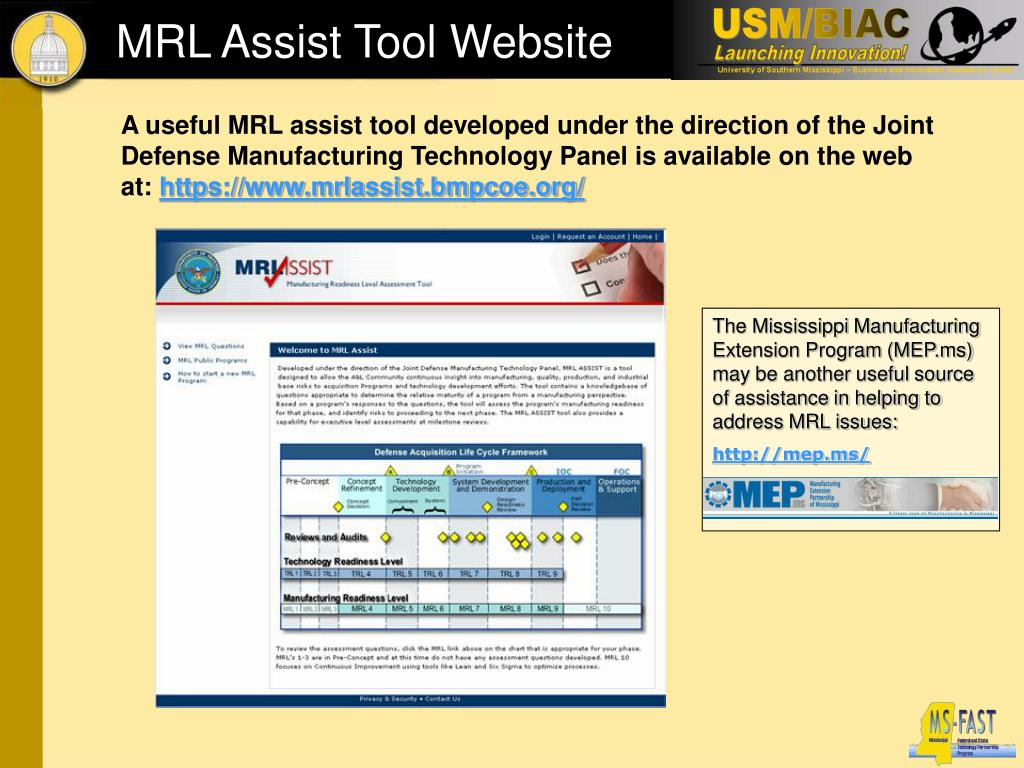 The Mississippi Manufacturing Extension Program (MEP.ms) may be another useful source of assistance in helping to address MRL issues: