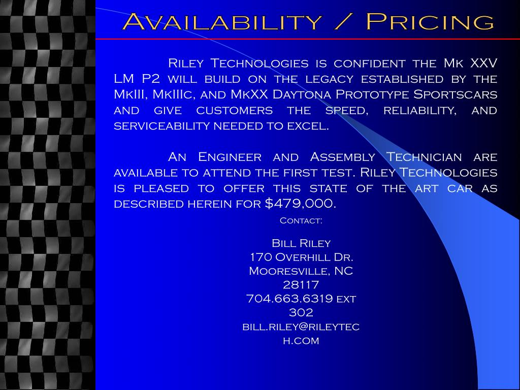 Availability / Pricing