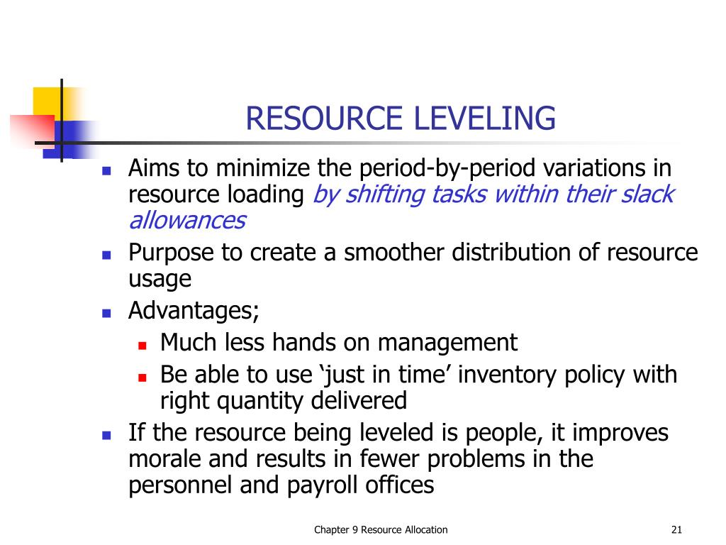 resource leveling Often, a project will be constrained by the available resources in this lesson, we will learn how to deliver a resource-constrained project.