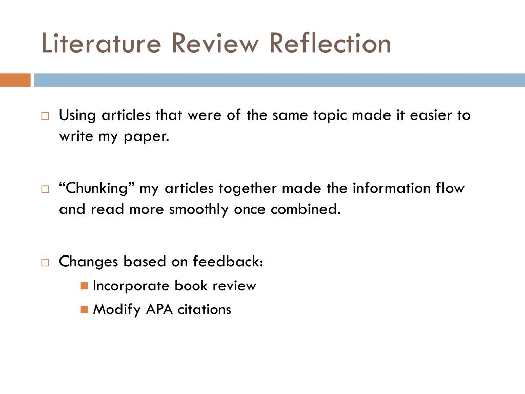 Reflection on literature review