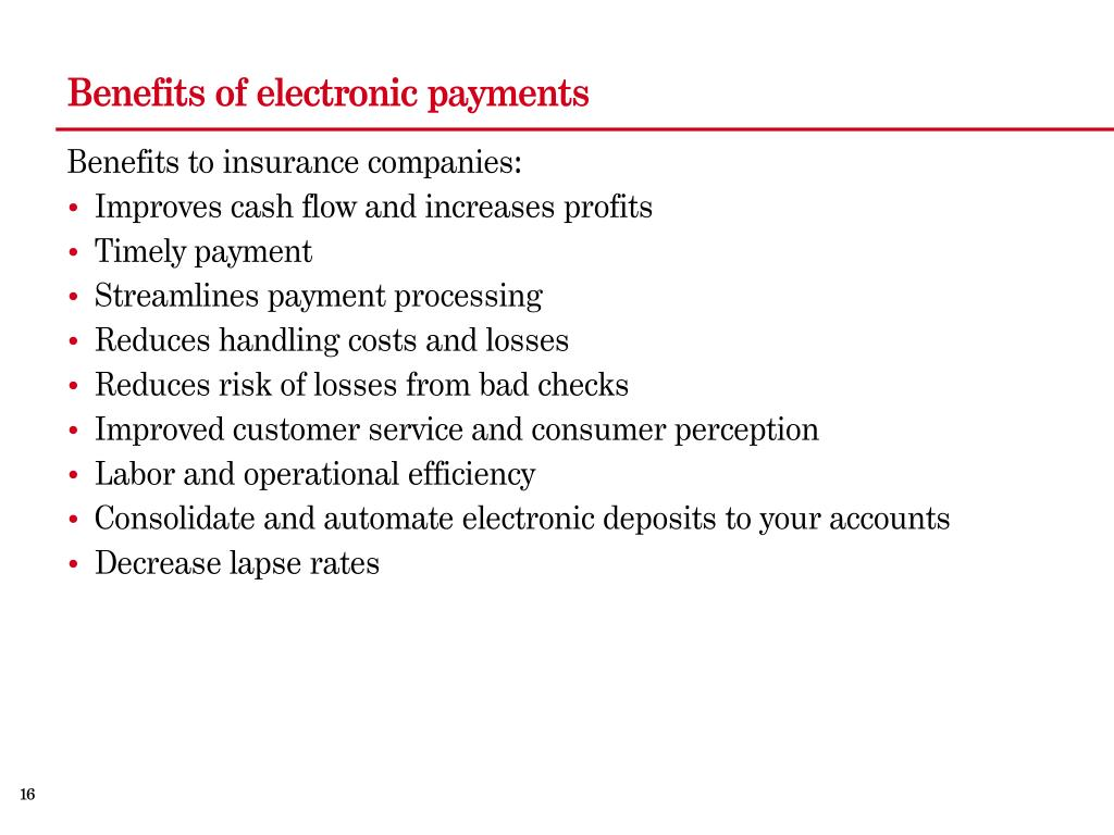 Benefits of electronic payments