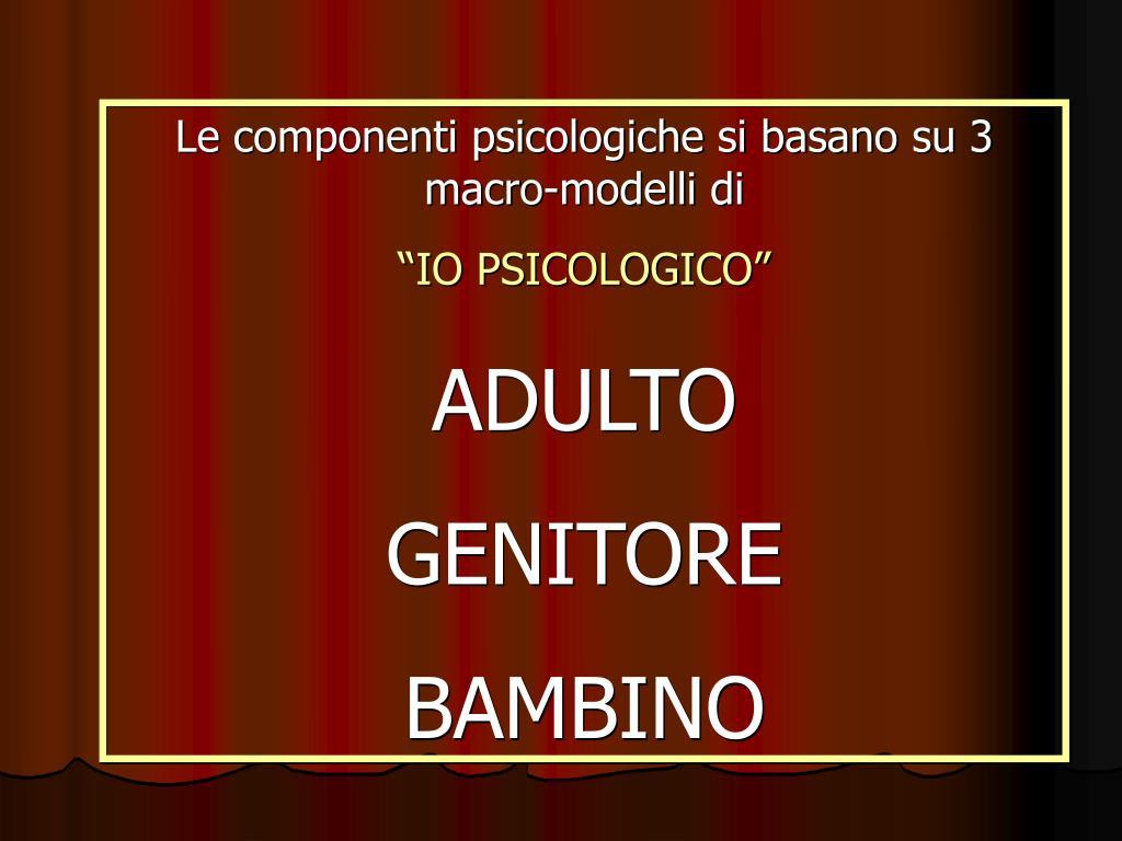 Le componenti psicologiche si basano su 3 macro-modelli di