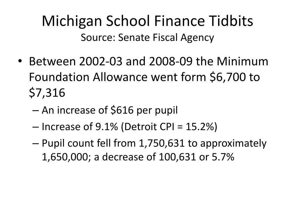 Michigan School Finance Tidbits