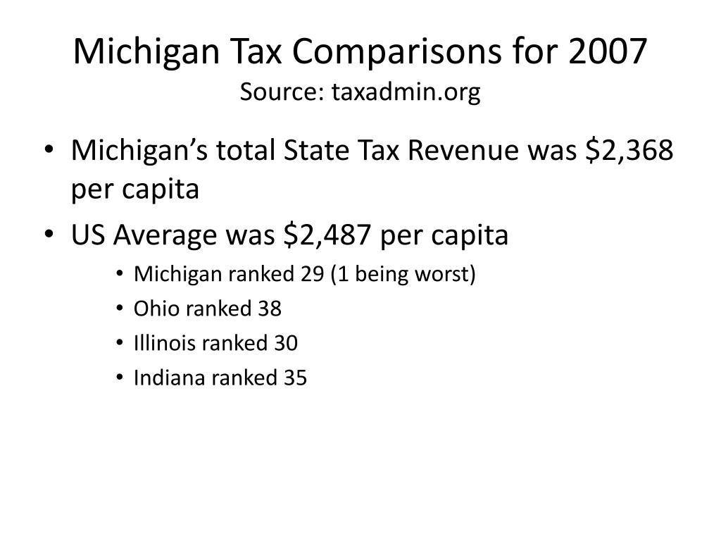 Michigan Tax Comparisons for 2007