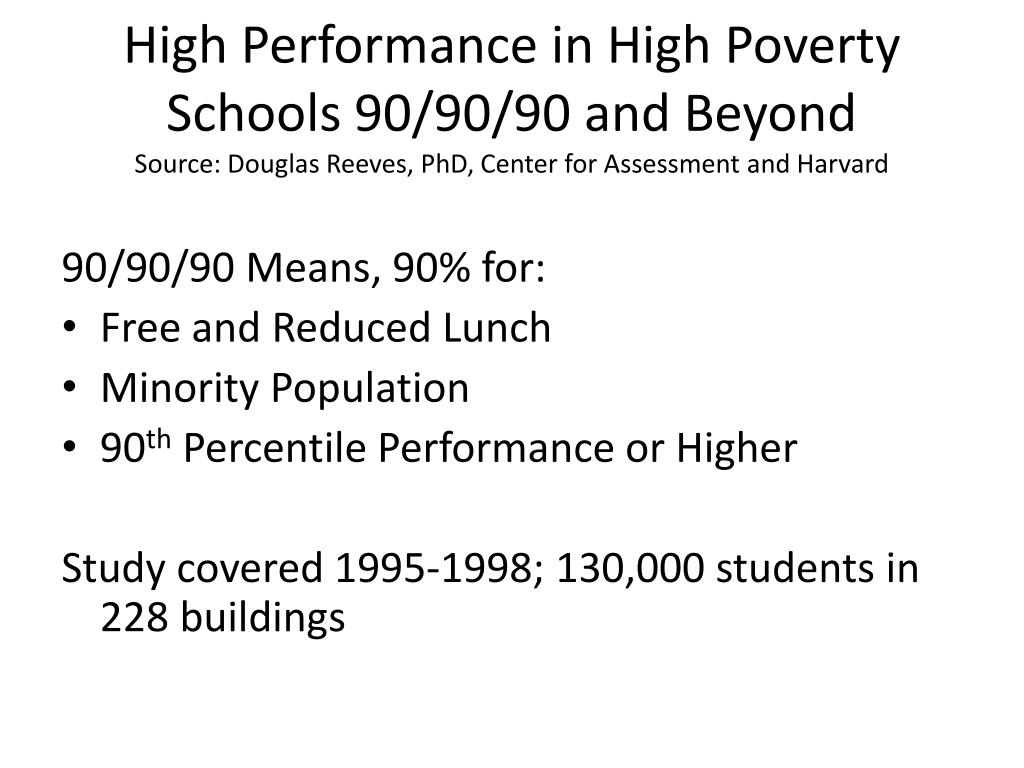 High Performance in High Poverty Schools 90/90/90 and Beyond