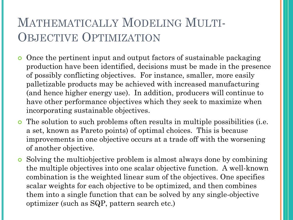 Mathematically Modeling Multi-Objective Optimization