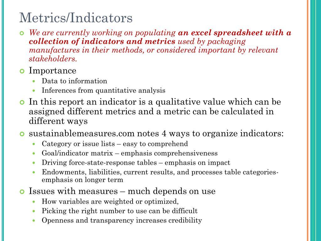 Metrics/Indicators