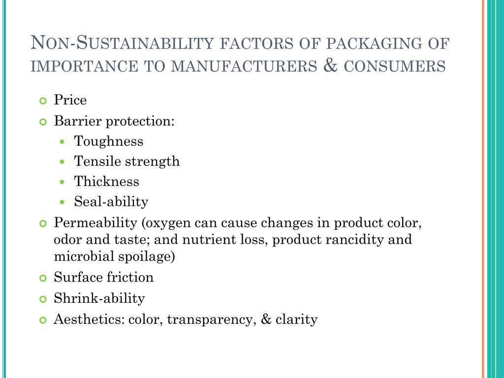 Non-Sustainability factors of packaging of importance to manufacturers & consumers