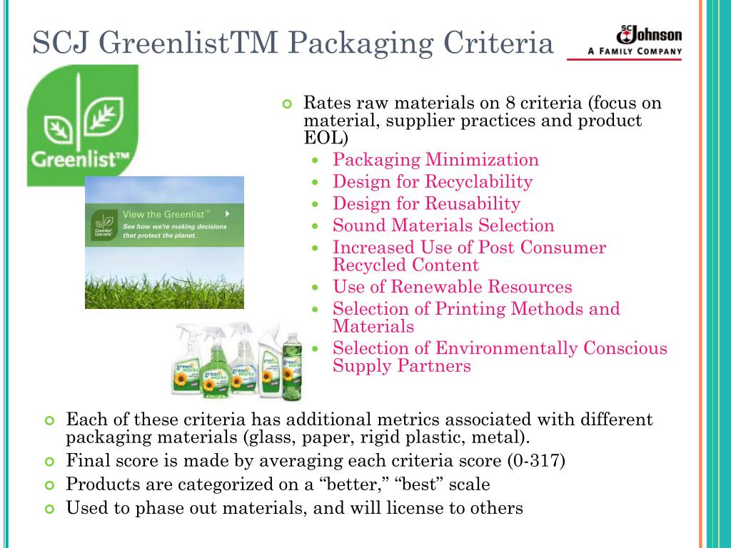SCJ GreenlistTM Packaging Criteria