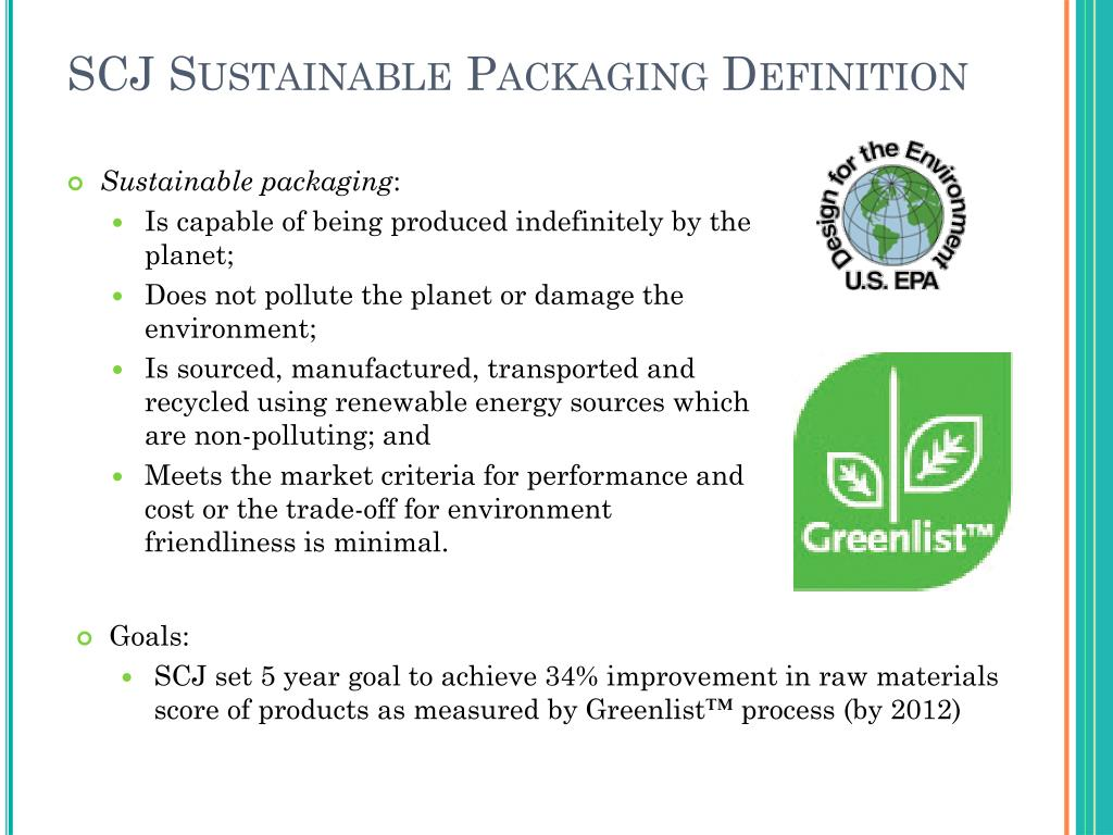 SCJ Sustainable Packaging Definition
