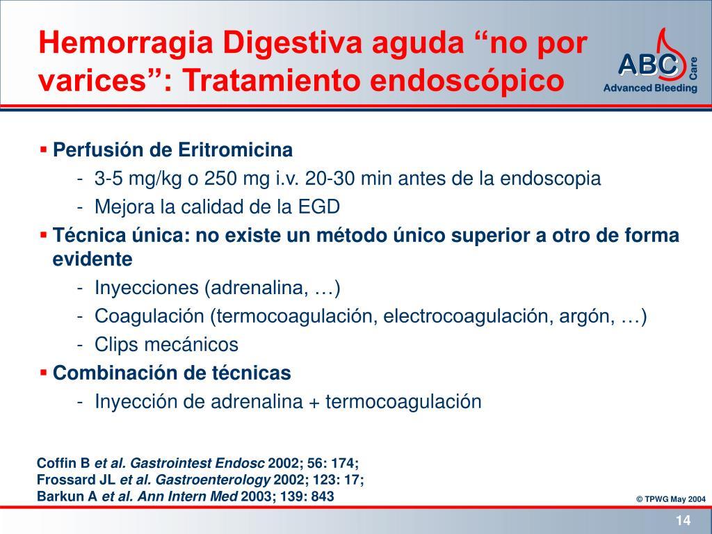 """Hemorragia Digestiva aguda """"no por varices"""": Tratamiento endoscópico"""