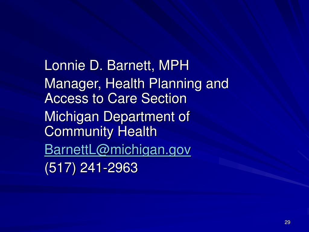 Lonnie D. Barnett, MPH