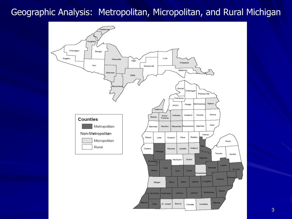 Geographic Analysis:  Metropolitan, Micropolitan, and Rural Michigan