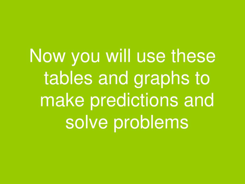 Now you will use these tables and graphs to make predictions and solve problems