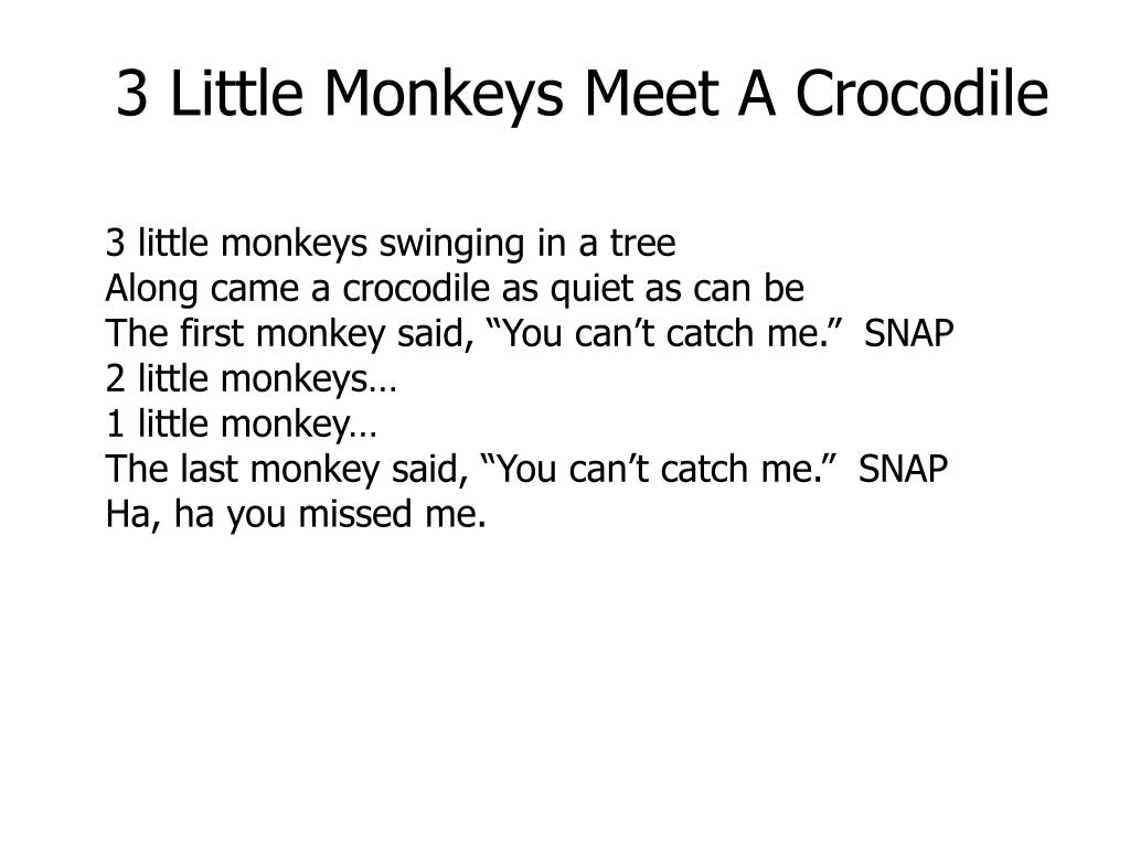 3 Little Monkeys Meet A Crocodile