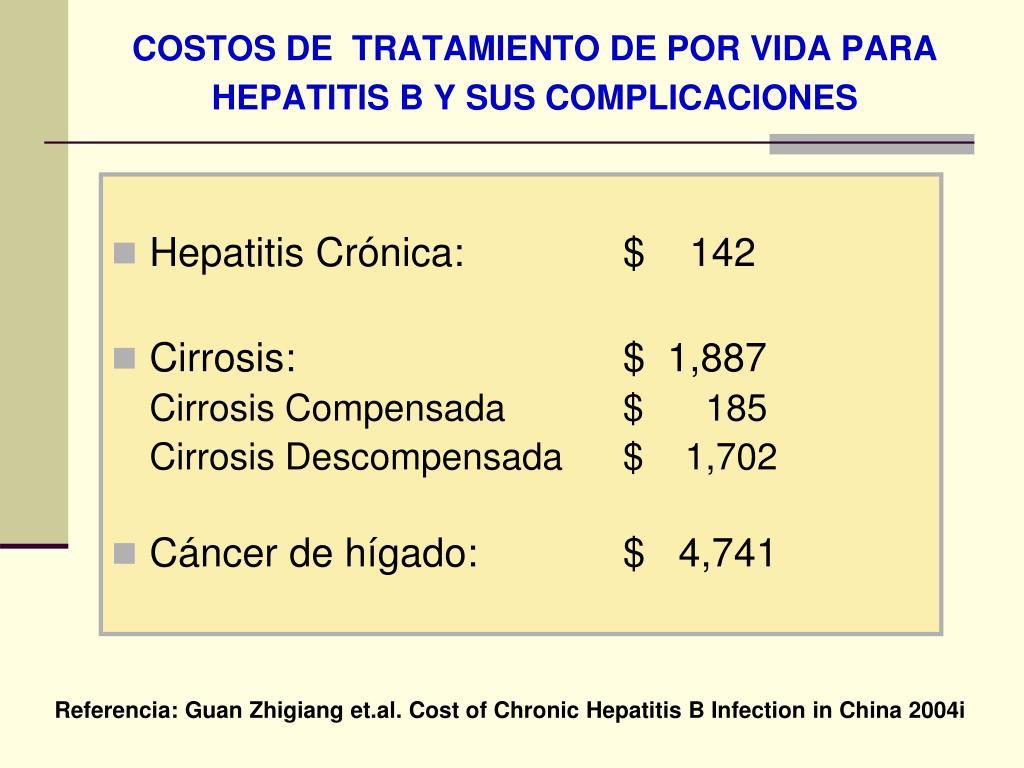 COSTOS DE  TRATAMIENTO DE POR VIDA PARA HEPATITIS B Y SUS COMPLICACIONES