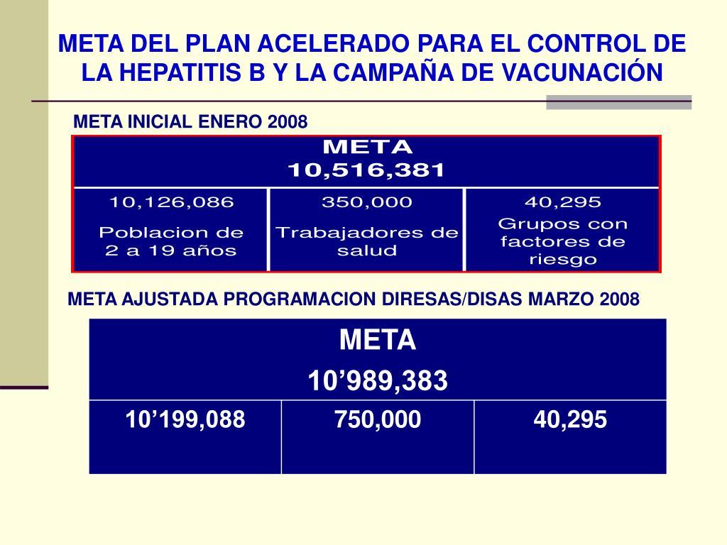 META DEL PLAN ACELERADO PARA EL CONTROL DE LA HEPATITIS B Y LA CAMPAÑA DE VACUNACIÓN