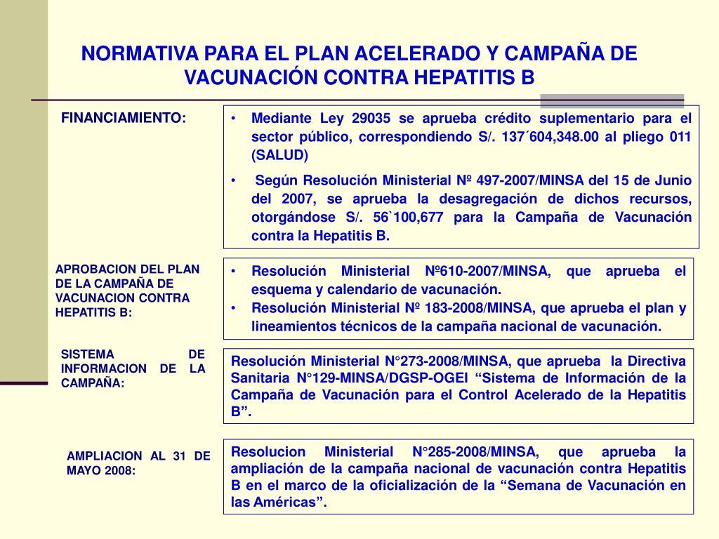 NORMATIVA PARA EL PLAN ACELERADO Y CAMPAÑA DE VACUNACIÓN CONTRA HEPATITIS B