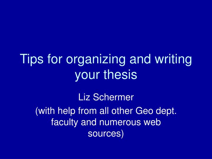 writing your thesis Guidelines for writing a thesis or dissertation, linda childers hon do not expect your chair or committee members to copy edit your thesis or dissertation.