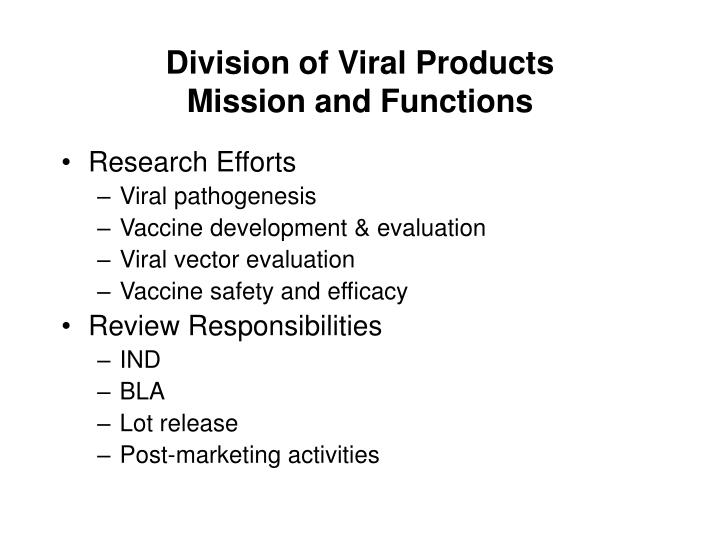 Division of viral products mission and functions