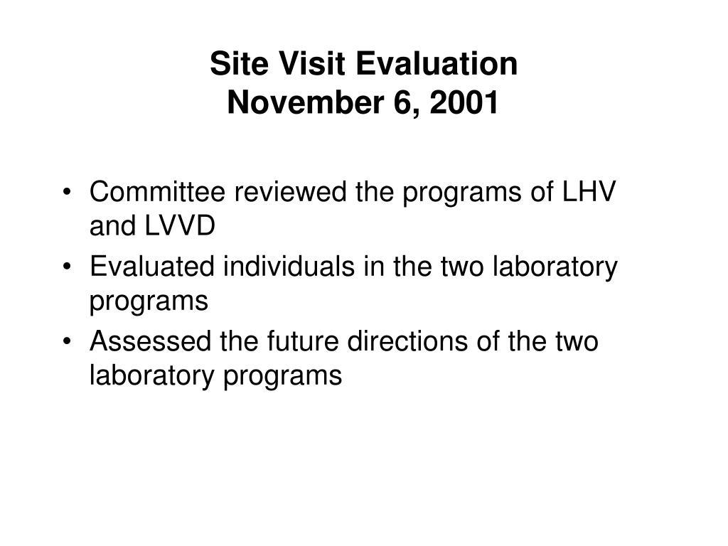 Site Visit Evaluation