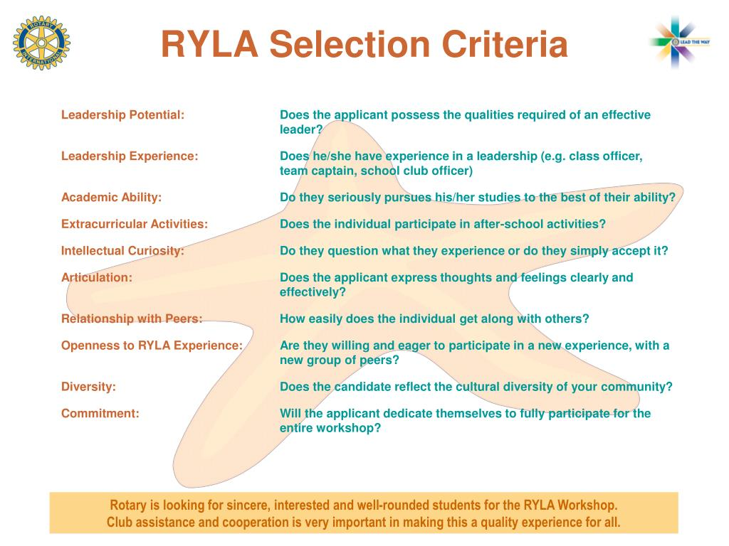 RYLA Selection Criteria